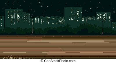 Rastros de carreteras de la noche de autos.