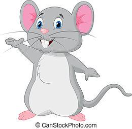 ratón, caricatura, lindo, ondulación