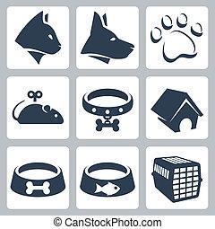 ratón, perro, iconos, mascota, tazones, gato, vector, set:, cuello, jaula, perrera, pawprint
