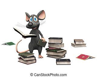 Ratón sonriente sosteniendo un libro.