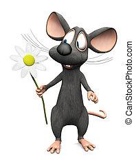 Ratón sonriente sosteniendo una gran flor.