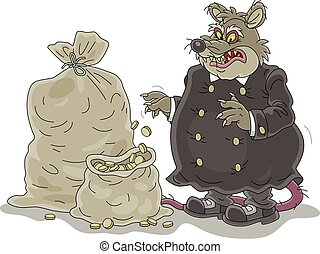 rata, impuesto, coins, sacos, recaudador