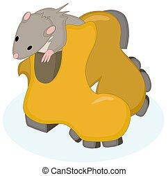 rata, vector, bota, sentado, imagen