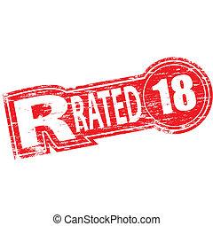 rated, estampilla, r