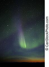 raya, visible., colorido, green-purple, aurora, fuerte, however, horizon., estrellas, muchos, fase, fin, todavía, crepúsculo, encima, exhibición, enough.