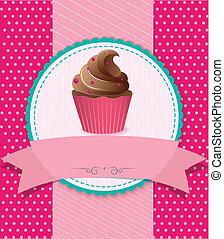 rayado, retro, plano de fondo, cupcake