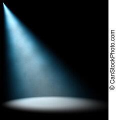Rayo de luz azul sobre fondo oscuro