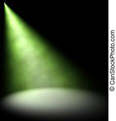 Rayo de luz verde sobre fondo oscuro