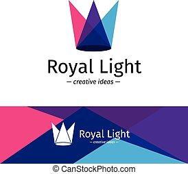 rayos, color, luz, corona, tres, logotype., vector, minimalistic, logo.