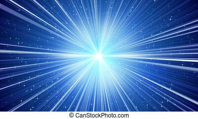 Rayos de luz azules y estrellas de fondo