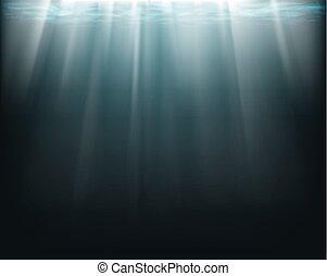 Rayos de sol bajo el agua.