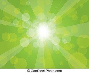 rayos sol, fondo verde, ilustración