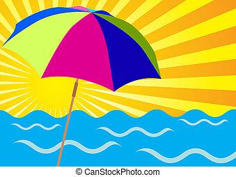 Rayos solares, océanos y paraguas de playa
