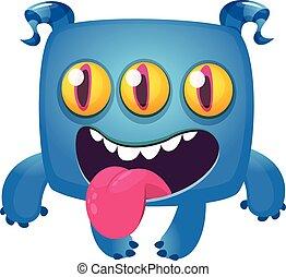 reír, ilustración, halloween, monstruo, vector, divertido, eyes., caricatura, tres