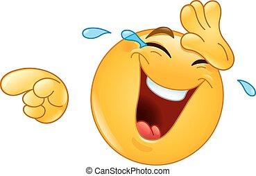 reír, señalar, emoticon, lágrimas