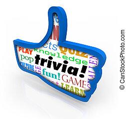 reacción, ganador, acción, arriba, juego, pulgares, social, trivia, red