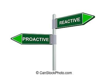 reactivo, 3d, proactive, muestra del camino