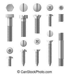 Realísticos pernos de metal 3D, nueces, remaches y tornillos vectores aislados