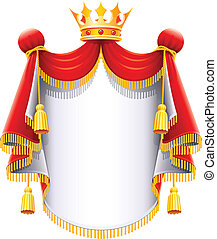 Real majestuoso manto con corona de oro