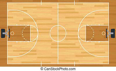 realista, baloncesto, vector, tribunal