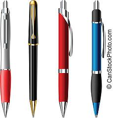 realista, bolígrafo, conjunto, pluma