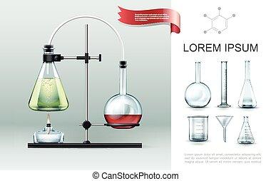 realista, concepto, laboratorio, elementos, experimento