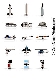 realista, guerra, brazos, icono, arma