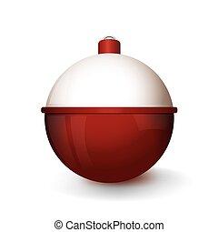 Realista ilustración de Bobber y Bobber rojo y blanco