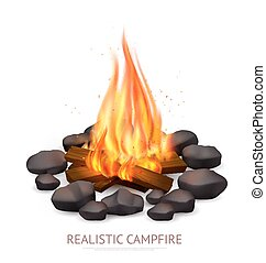 realista, plano de fondo, campfire, composición