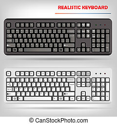 realista, vector, ordenador teclado