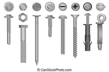 Realistas tornillos de vector 3D, nueces, pernos, remaches y clavos para abrochar y arreglar.