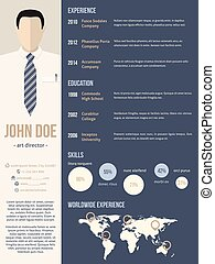 Reanuda la plantilla de CV con foto de hombre de negocios