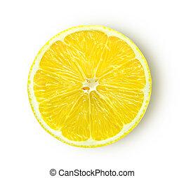 Rebanada de limón aislada en el fondo blanco