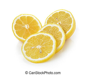 Rebanada de limón en fondo blanco