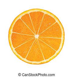Rebanada de naranja fotorealista. Ilustración de vectores