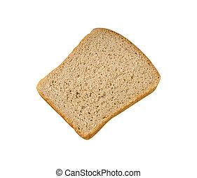 Rebanada de pan aislada en blanco