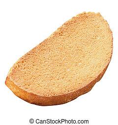 Rebanada de pan aislada en fondo blanco