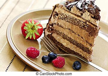 rebanada de pastel, chocolate
