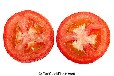Rebanada de tomate aislada en blanco