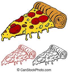rebanada, jugoso, pizza