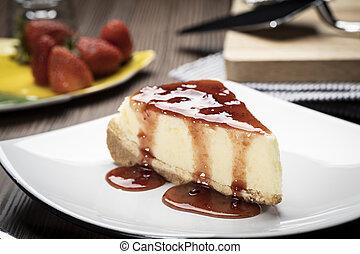 rebanada, pastel de queso, placa, delicioso
