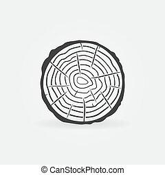 rebanada, tronco, icono, anillos, concepto, árbol, vector