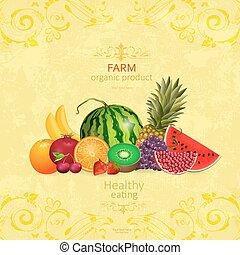 Recaudación de frutas frescas en el fondo chic para su de