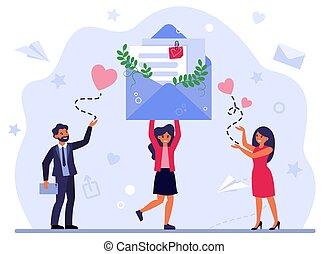 receiving, felicitación, mujer, mensajes
