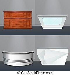 Recepción de escritorio moderno diseño realista