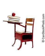 Recepción de la escuela roja con libros sobre blanco