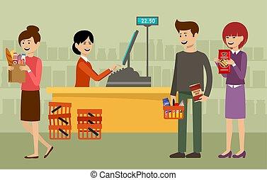 Recepción en un supermercado y gente con compras