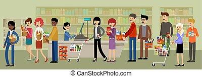 Recepción en un supermercado y gente con compras.
