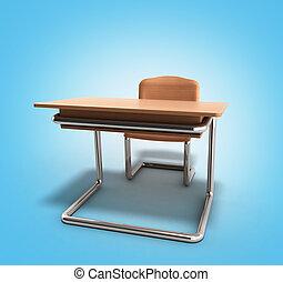 Recepción escolar y silla 3D sobre el fondo de la gradiente azul