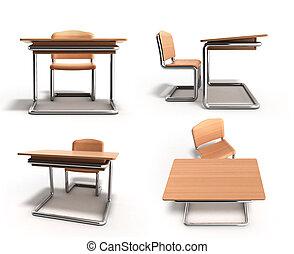 Recepción escolar y silla 3D sobre fondo blanco